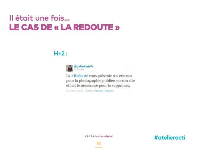 32 Il était une fois… LE CAS DE «LA REDOUTE» H+2 : #atelieracti