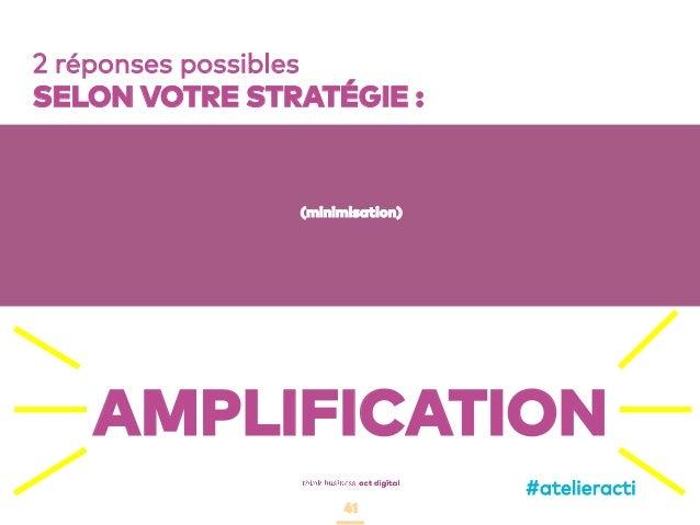 41 2 réponses possibles SELON VOTRE STRATÉGIE : (minimisation) AMPLIFICATION #atelieracti