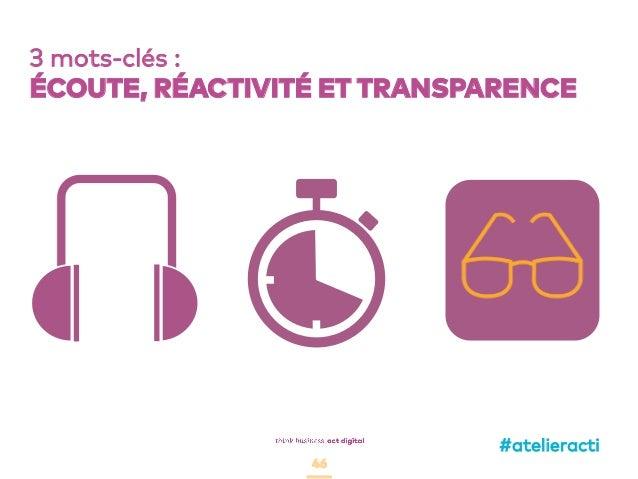 46 3 mots-clés : ÉCOUTE, RÉACTIVITÉ ET TRANSPARENCE #atelieracti