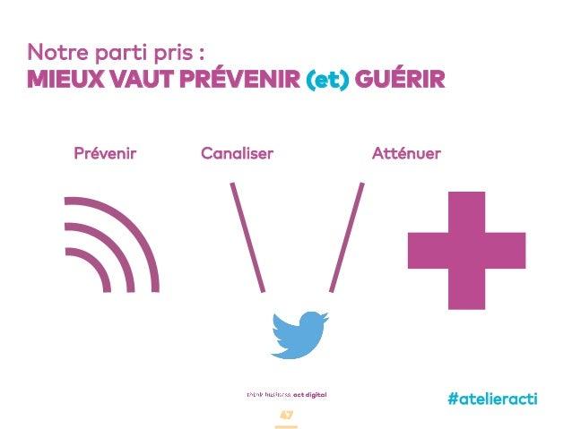 47 Notre parti pris : MIEUX VAUT PRÉVENIR (et) GUÉRIR Prévenir Canaliser Atténuer +#atelieracti