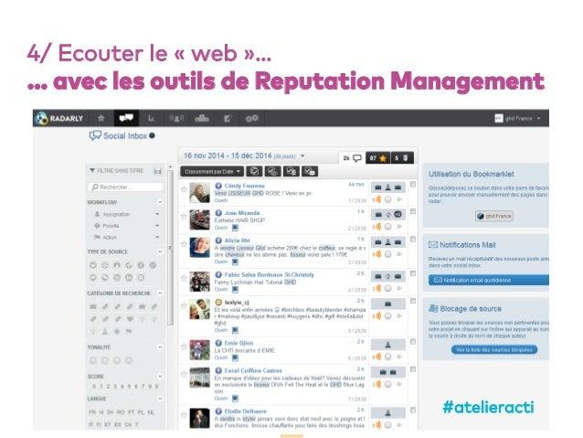 65 4/ Ecouter le «web»… … avec les outils de Reputation Management #atelieracti