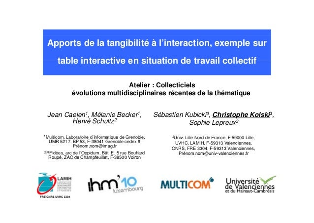 Apports de la tangibilité à l'interaction, exemple sur table interactive en situation de travail collectiftable interactiv...