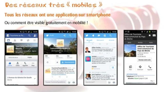 Des réseaux très «mobiles»  Tous les réseaux ont une application sur smartphone  Ou comment être visible gratuitement en m...
