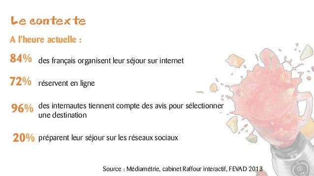 Le contexte  des français organisent leur séjour sur internet  réservent en ligne  des internautes tiennent compte des avi...