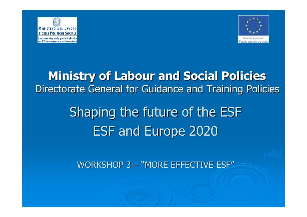 Ministry of Labour and Social Policies Directorate General for Guidance and Training Policies         Shaping the future o...