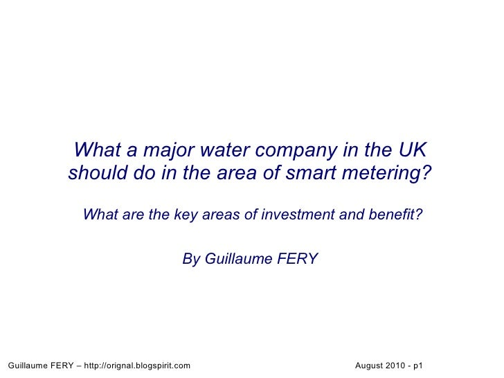 What a major water company in the UK               should do in the area of smart metering?                    What are th...