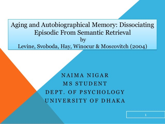 Aging and Autobiographical Memory: DissociatingEpisodic From Semantic RetrievalbyLevine, Svoboda, Hay, Winocur & Moscovitc...
