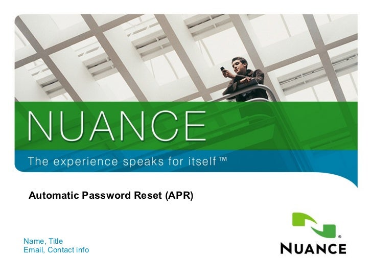 Automatic Password Reset (APR) Name, Title Email, Contact info