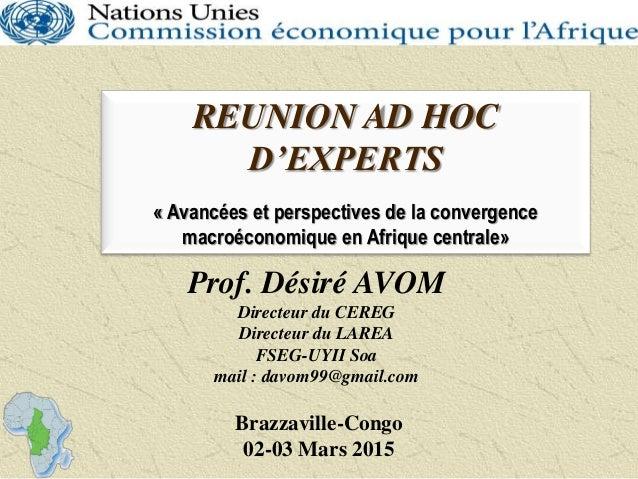 REUNION AD HOC D'EXPERTS « Avancées et perspectives de la convergence macroéconomique en Afrique centrale» Brazzaville-Con...