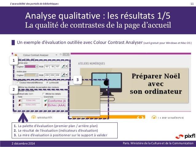 L'accessibilité des portails de bibliothèques Paris. Ministère de la Culture et de la Communication █ Un exemple d'évaluat...