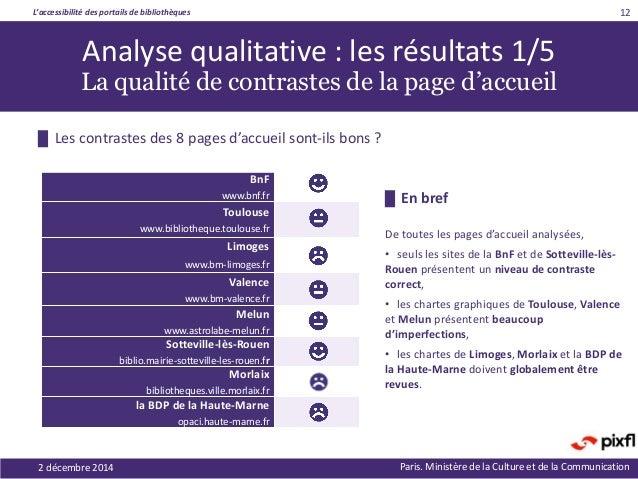 L'accessibilité des portails de bibliothèques Paris. Ministère de la Culture et de la Communication2 décembre 2014 12 Anal...