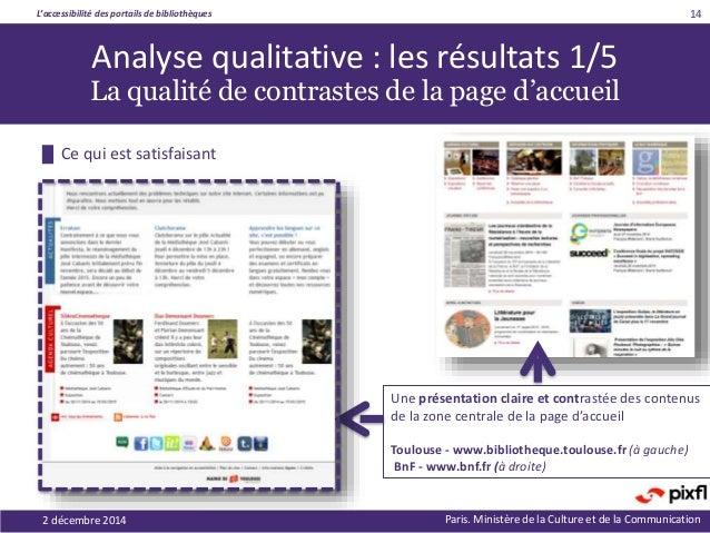 L'accessibilité des portails de bibliothèques Paris. Ministère de la Culture et de la Communication 14 Analyse qualitative...