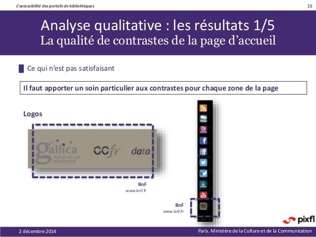 L'accessibilité des portails de bibliothèques Paris. Ministère de la Culture et de la Communication 19 Analyse qualitative...