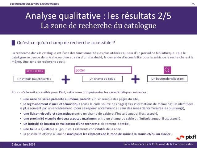 L'accessibilité des portails de bibliothèques Paris. Ministère de la Culture et de la Communication2 décembre 2014 25 █ Qu...