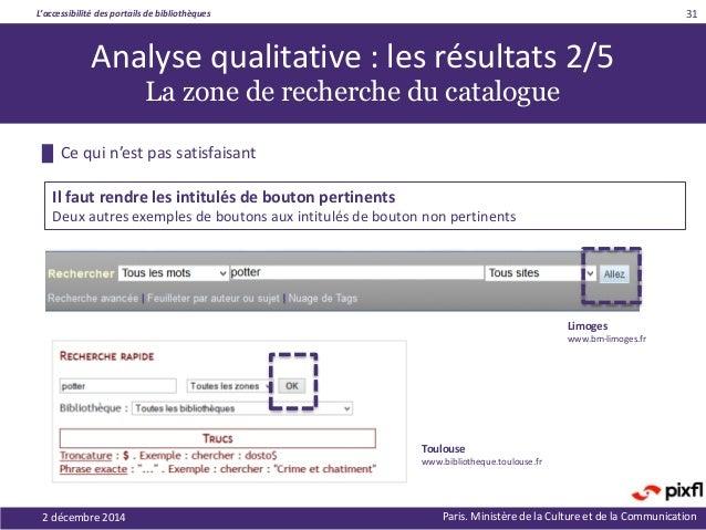 L'accessibilité des portails de bibliothèques Paris. Ministère de la Culture et de la Communication2 décembre 2014 31 Anal...