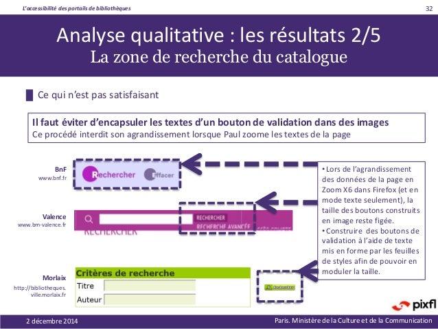 L'accessibilité des portails de bibliothèques Paris. Ministère de la Culture et de la Communication2 décembre 2014 32 Anal...