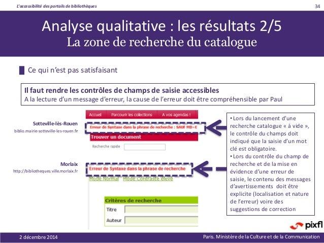 L'accessibilité des portails de bibliothèques Paris. Ministère de la Culture et de la Communication2 décembre 2014 34 Anal...
