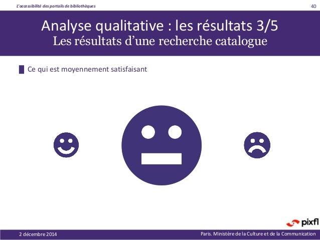L'accessibilité des portails de bibliothèques Paris. Ministère de la Culture et de la Communication2 décembre 2014 40 █ Ce...