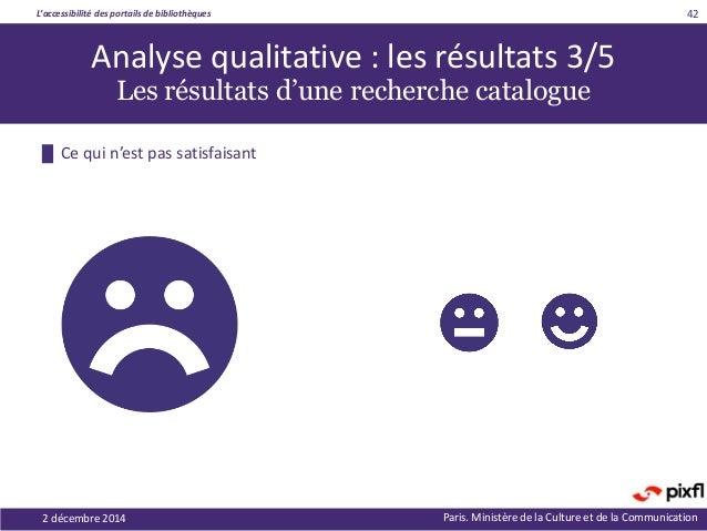 L'accessibilité des portails de bibliothèques Paris. Ministère de la Culture et de la Communication2 décembre 2014 42 Anal...
