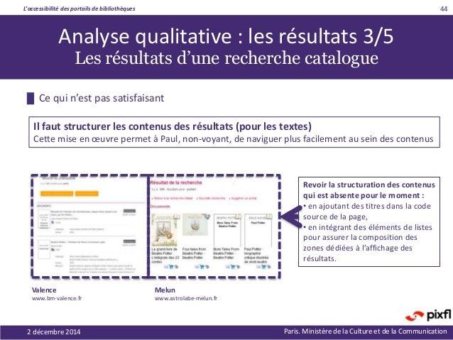 L'accessibilité des portails de bibliothèques Paris. Ministère de la Culture et de la Communication2 décembre 2014 44 Revo...