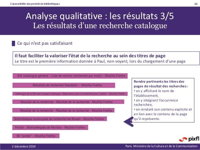 L'accessibilité des portails de bibliothèques Paris. Ministère de la Culture et de la Communication2 décembre 2014 46 Rend...