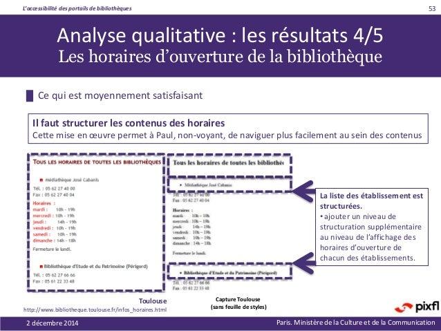 L'accessibilité des portails de bibliothèques Paris. Ministère de la Culture et de la Communication2 décembre 2014 53 La l...