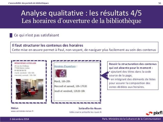 L'accessibilité des portails de bibliothèques Paris. Ministère de la Culture et de la Communication2 décembre 2014 56 Revo...
