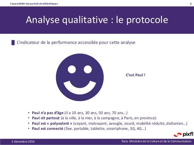 L'accessibilité des portails de bibliothèques Paris. Ministère de la Culture et de la Communication 6 Analyse qualitative ...