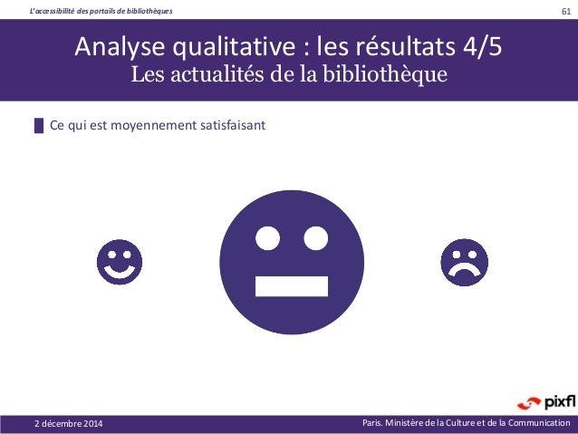 L'accessibilité des portails de bibliothèques Paris. Ministère de la Culture et de la Communication2 décembre 2014 61 Anal...