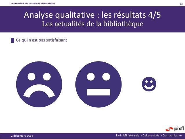 L'accessibilité des portails de bibliothèques Paris. Ministère de la Culture et de la Communication2 décembre 2014 63 █ Ce...