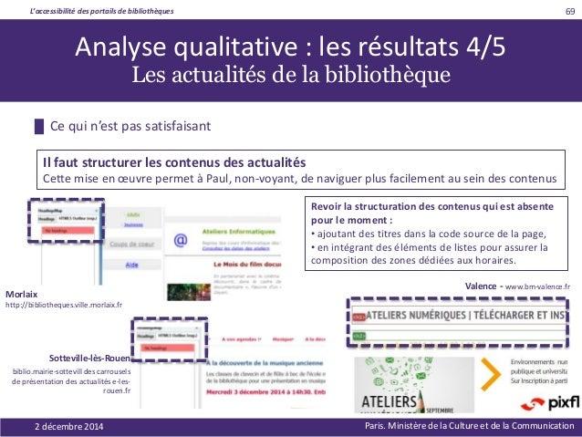 L'accessibilité des portails de bibliothèques Paris. Ministère de la Culture et de la Communication2 décembre 2014 69 Revo...