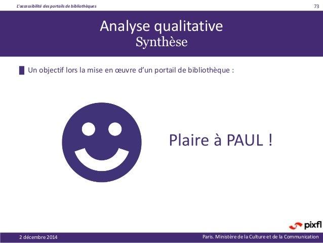 L'accessibilité des portails de bibliothèques Paris. Ministère de la Culture et de la Communication █ Un objectif lors la ...