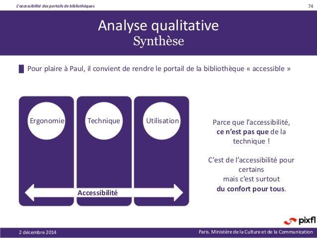 L'accessibilité des portails de bibliothèques Paris. Ministère de la Culture et de la Communication █ Pour plaire à Paul, ...
