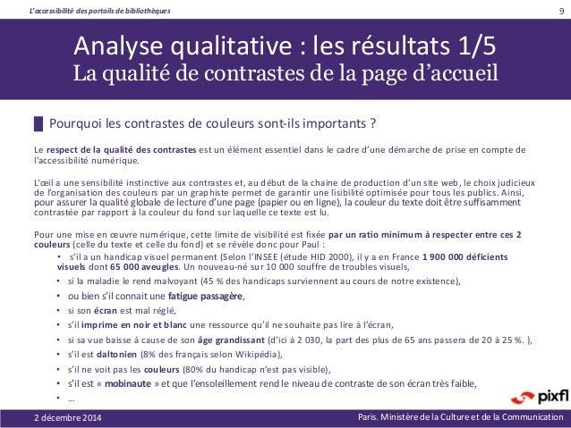 L'accessibilité des portails de bibliothèques Paris. Ministère de la Culture et de la Communication █ Pourquoi les contras...