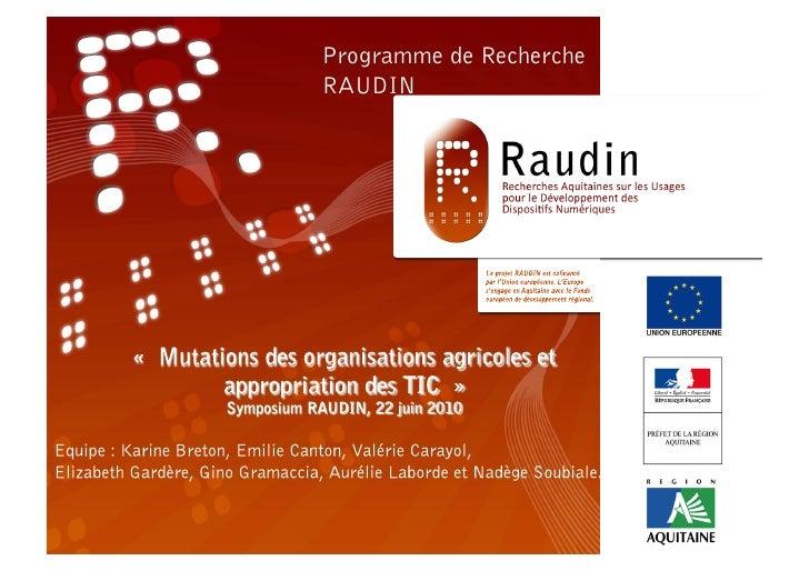 Programme de RechercheRAUDIN