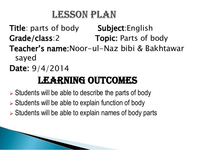 English Lesson Plan On Parts Of Body