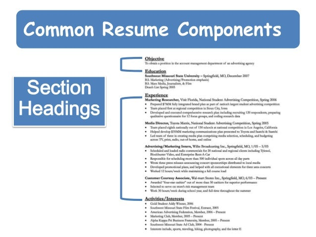 Exceptional Common Resume Components Section Headings ...