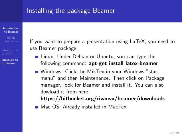 beamer latex windows