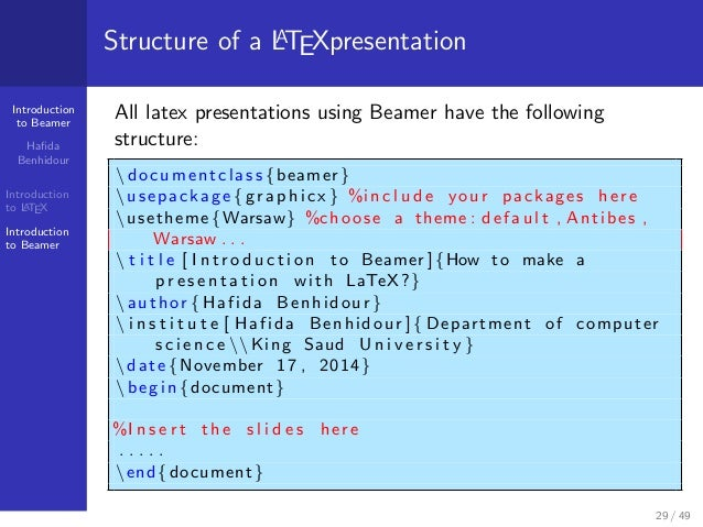 Slides Presentation Latex