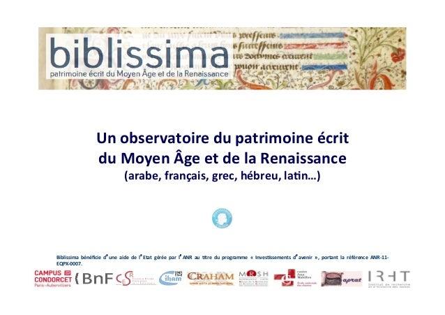 Un  observatoire  du  patrimoine  écrit   du  Moyen  Âge  et  de  la  Renaissance   (arabe,  f...