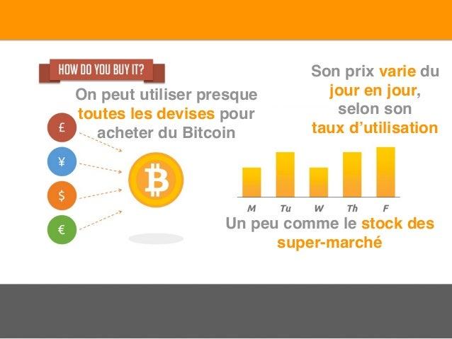 On peut utiliser presque toutes les devises pour acheter du Bitcoin Son prix varie du jour en jour, selon son taux d'utili...