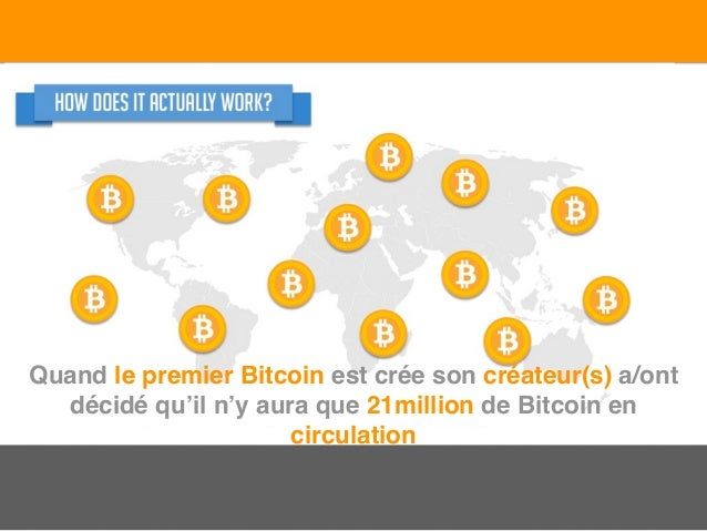 Quand le premier Bitcoin est crée son créateur(s) a/ont décidé qu'il n'y aura que 21million de Bitcoin en circulation