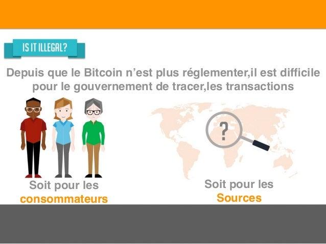 Depuis que le Bitcoin n'est plus réglementer,il est difficile pour le gouvernement de tracer,les transactions Soit pour les...
