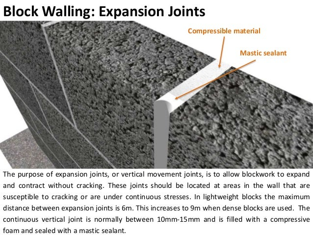expansion joint concrete wall. minimum 150mm above ground level; 11. block walling: expansion joints joint concrete wall