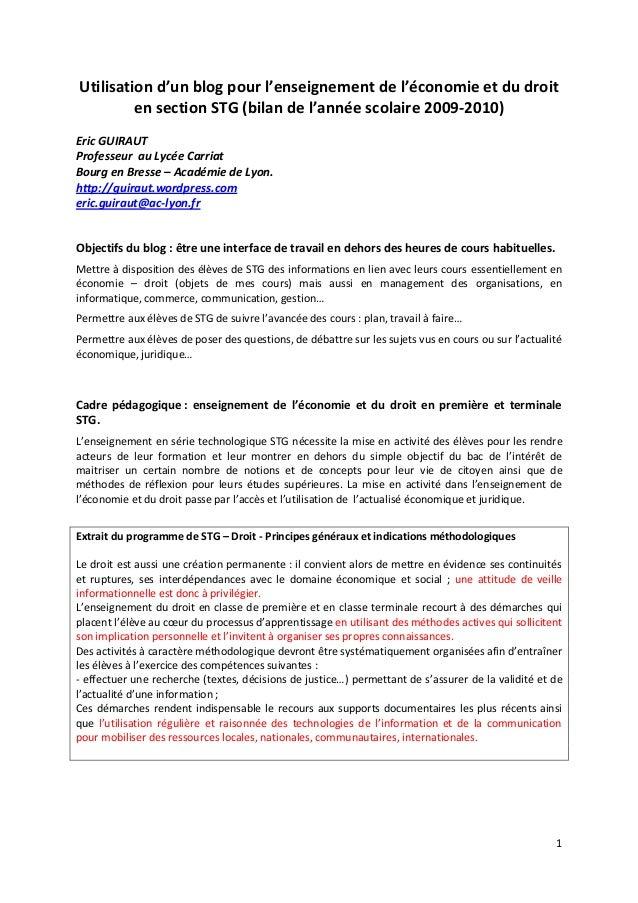1    Utili omie et du droit  en section STG (bilan de l année scolaire 2009-‐2010)    Eric GUIRAUT  Prof...