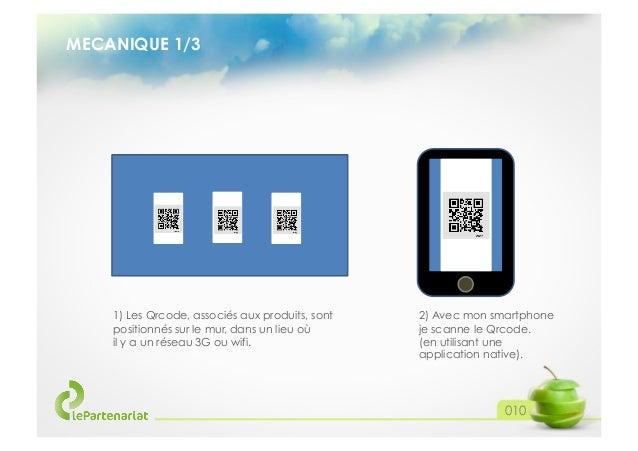 MECANIQUE 1/3  1) Les Qrcode, associés aux produits, sont positionnés sur le mur, dans un lieu où il y a un réseau 3G ou w...