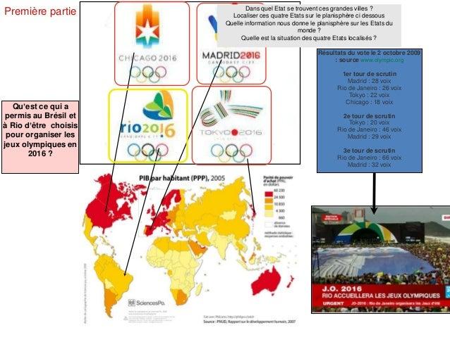 Première partie Résultats du vote le 2 octobre 2009 : source www.olympic.org 1er tour de scrutin Madrid : 28 voix Rio de J...
