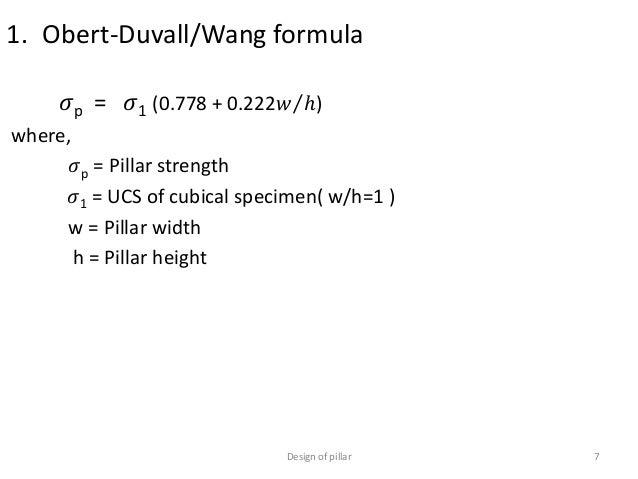 Pillar strength equation
