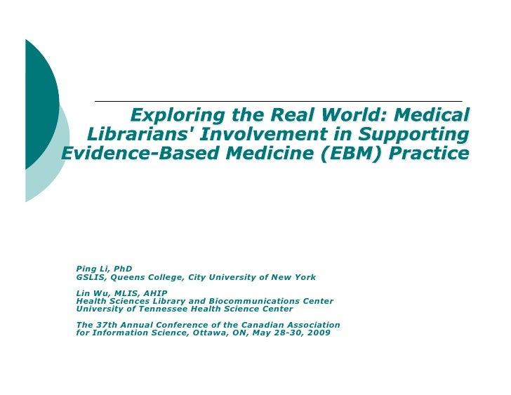 Ping Li, PhD GSLIS, Queens College, City University of New York Lin Wu, MLIS, AHIP Health Sciences Library and Biocommunic...