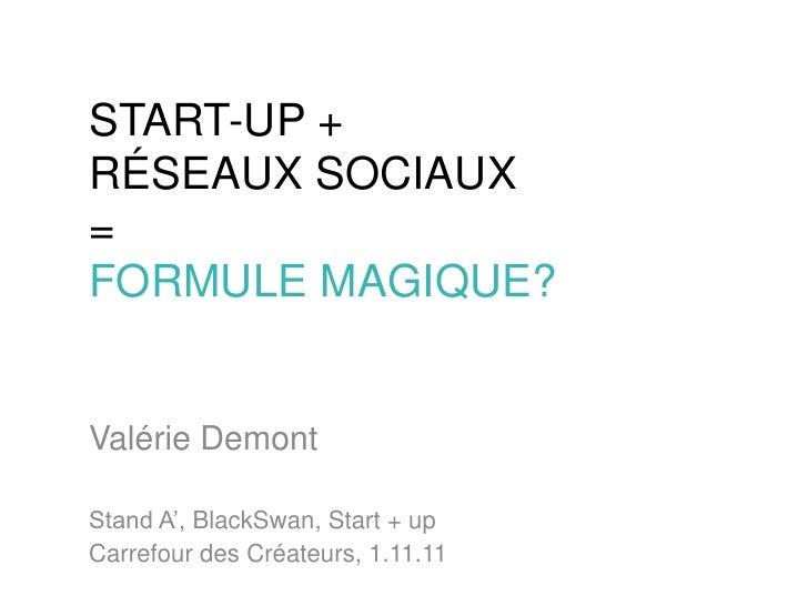 START-UP +RÉSEAUX SOCIAUX=FORMULE MAGIQUE?Valérie DemontStand A', BlackSwan, Start + upCarrefour des Créateurs, 1.11.11